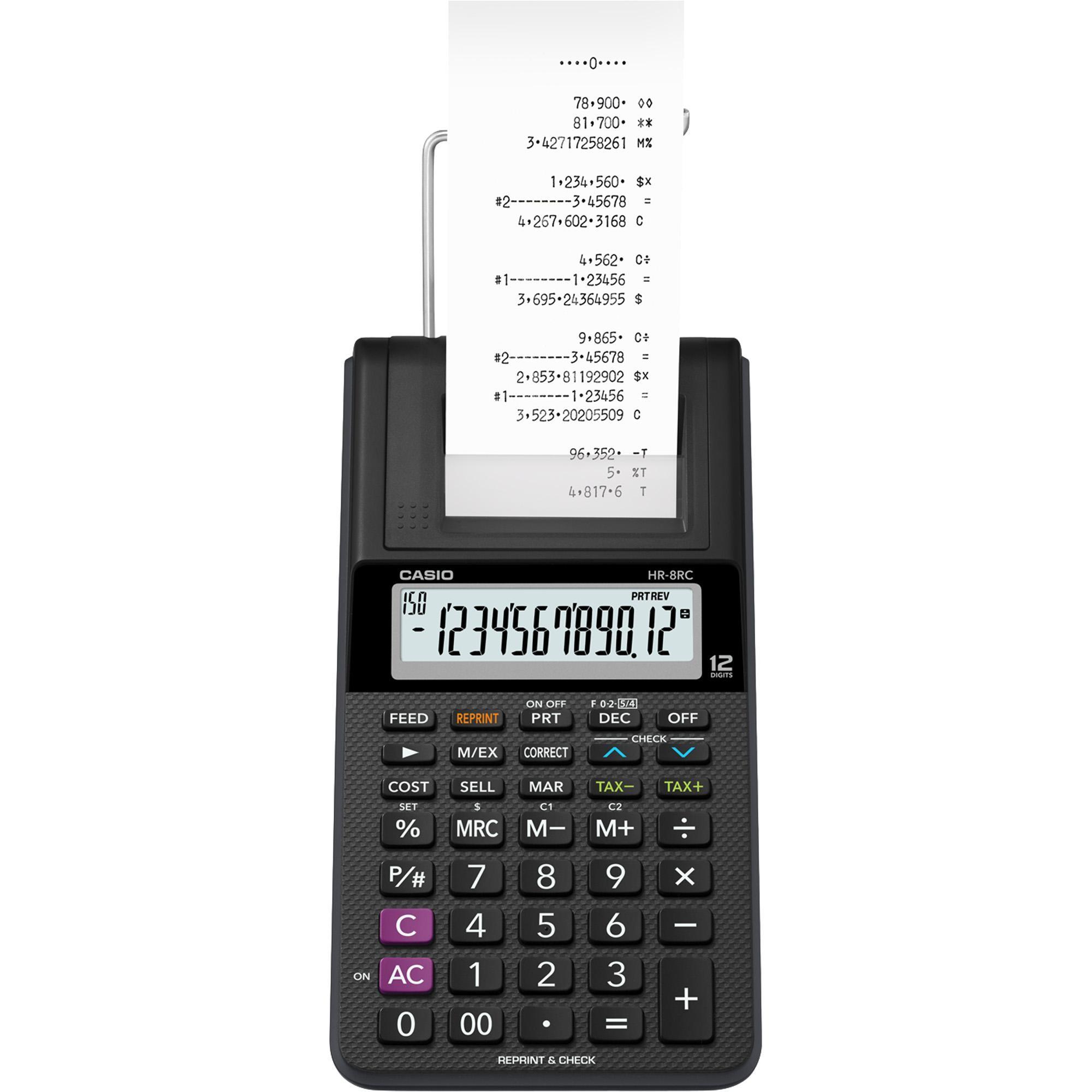 Calculadora com Bobina 12 Dígitos HR-8RC-WE-B-DC Preta CASIO