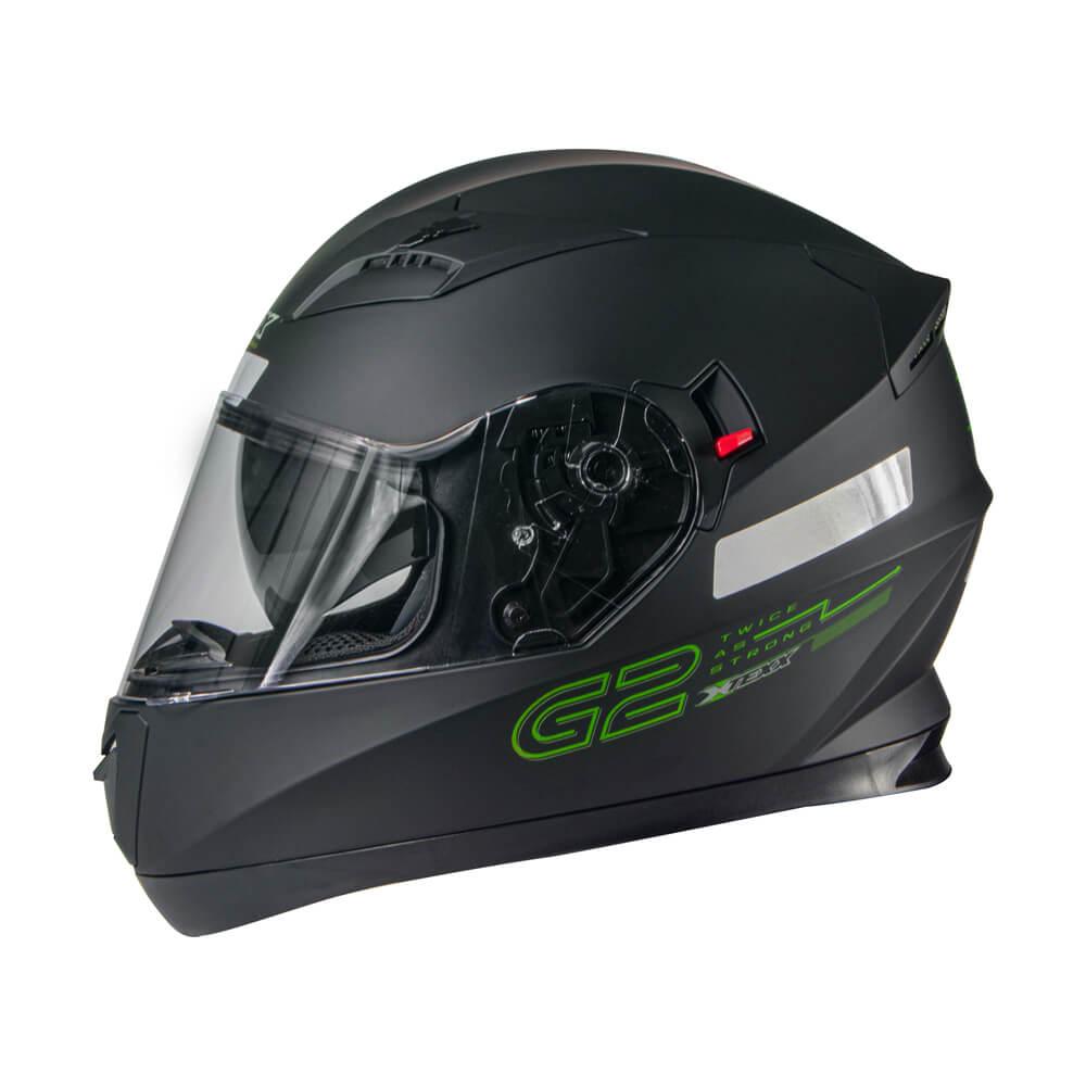 CAPACETE TEXX G2 SOLIDO PRETO/VERDE 61