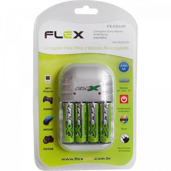 Carregador de Pilhas FXC03-4P AA/AAA/9V FLEX