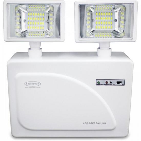 Iluminação de Emergência Lumens 2 Faróis LED 3000 SEGURIMAX