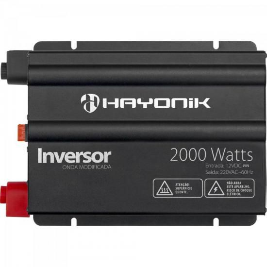 Inversor 2000W 12VDC/220V Onda Modificada Cinza Escuro HAYON