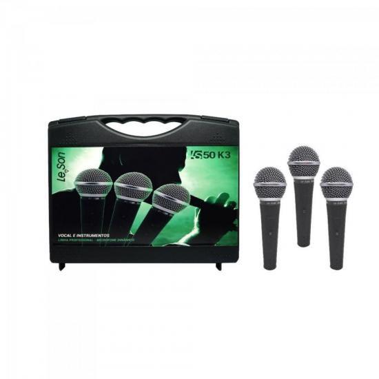 KIT c/ 3 Microfones Dinâmico LS50K3 Preto LESON