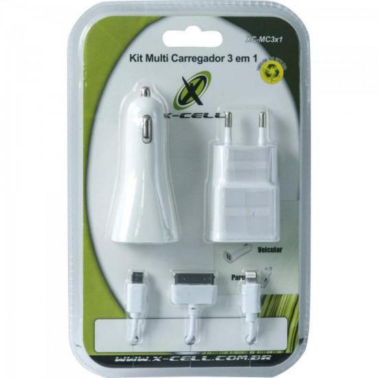 Kit Carregador 3 em 1 Micro USB/Lightning/Doc XC-MC3X1 Branc