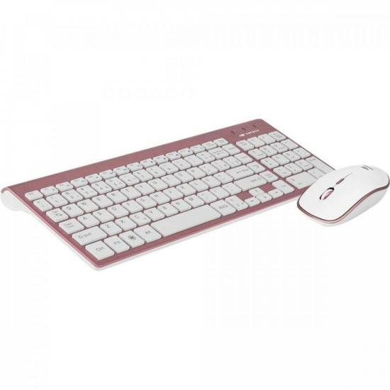 Kit Teclado + Mouse sem Fio K-W510PWH Pink e Branco C3TECH