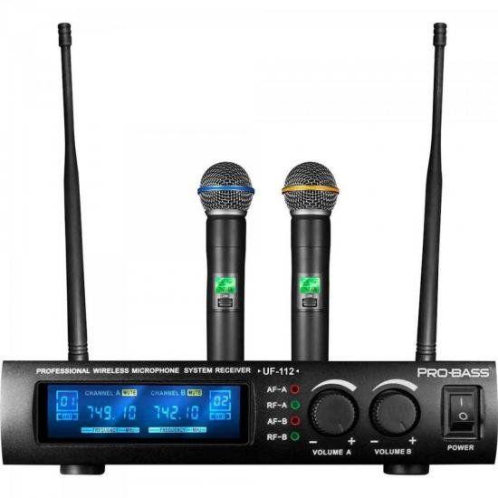 Microfone sem Fio Duplo de Mão UHF UF-112 PROBASS