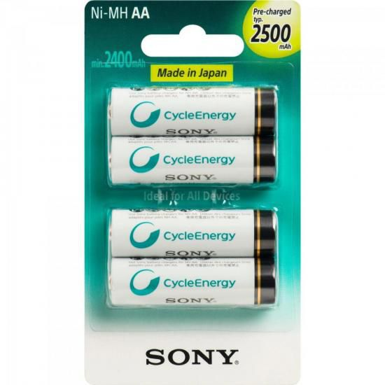 Pilha Recarregavel AA 2500mAh NiMh NH-AA-B4GN Sony cartela c