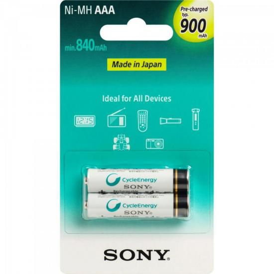 Pilha Recarregavel AAA 900mAh NiMh NH-AAA-B2GN Sony cartela