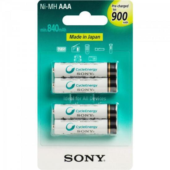 Pilha Recarregavel AAA 900mAh NiMh NH-AAA-B4GN Sony cartela