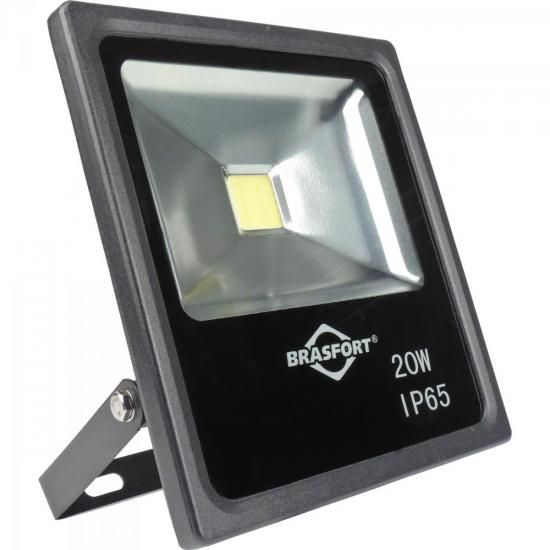 Refletor de LED 20W 6500K Bivolt SLIM Preto BRASFORT