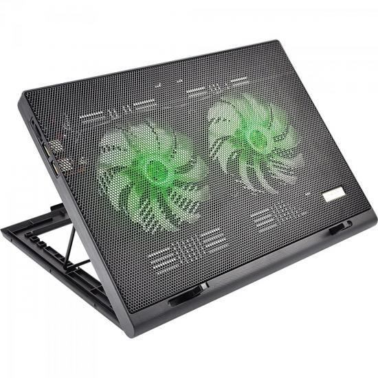 Suporte Para Notebook com 2 Coolers Acoplados AC267 Preto MU