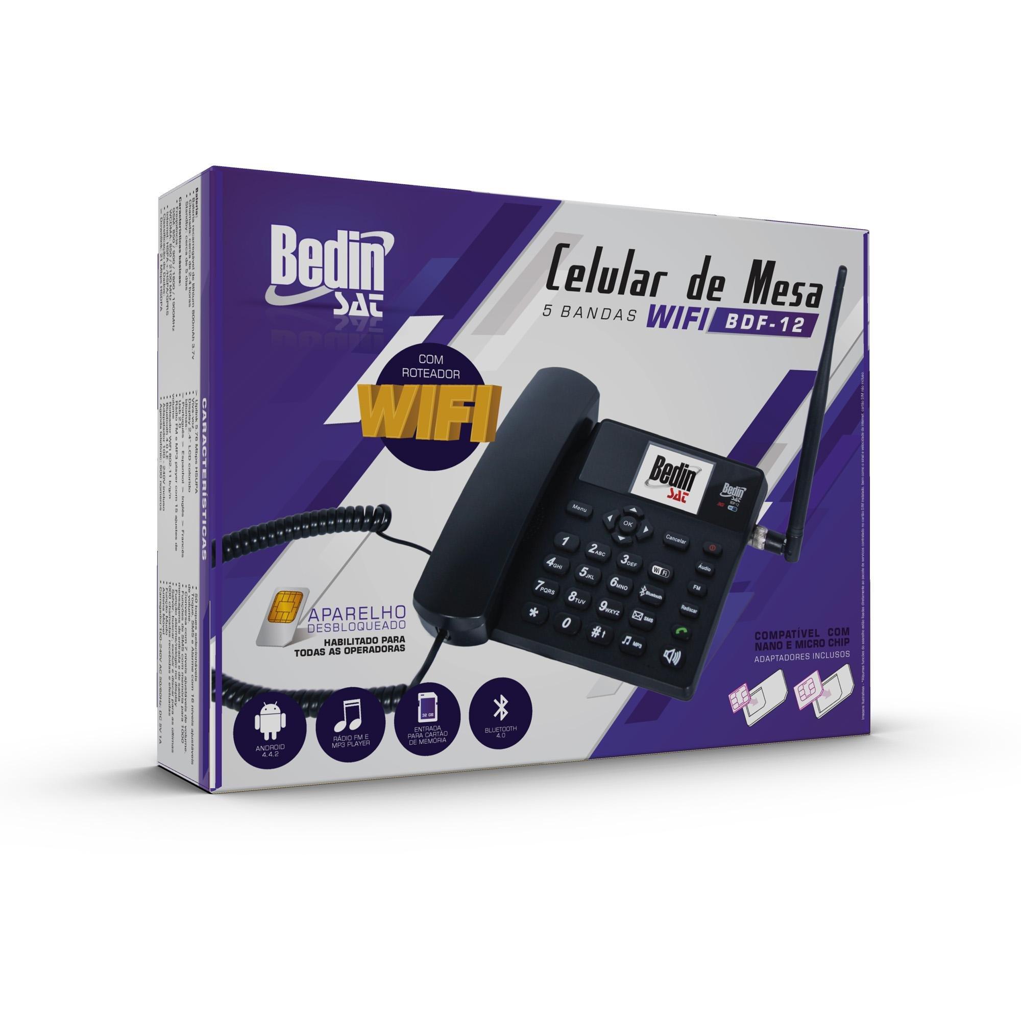 Telefone Celular de Mesa Wifi 3G BDF-12 Preto BEDINSAT