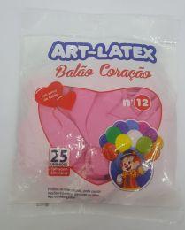 Balão Art-Latex Coração Rosa nº12 c/25 unidades