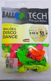 """Balão Balloontech 10"""" Disco Dance Neon c/25 unidades"""