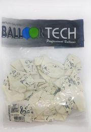 """Balão Balloontech 10"""" Notas Musicais Branco c/25 unidades"""