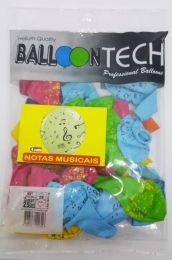 """Balão Balloontech 10"""" Notas Musicais c/25 unidades"""