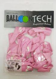 """Balão Balloontech 10"""" Pezinhos Bebê Menina c/25 unidades"""
