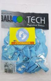 """Balão Balloontech 10"""" Pezinhos Bebê Menino c/25 unidades"""
