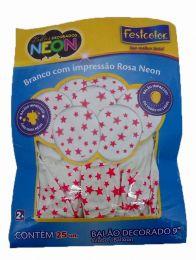 "Balão Decorado 9"" Branco c/ Estrelas Rosa Neon c/25 unidades"
