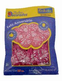 """Balão Decorado 9"""" Feliz Aniversário Rosa c/25 unidades"""