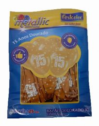 "Balão Decorado 9"" Metallic 15 Anos Dourado c/25 unidades"