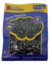 """Balão Decorado 9"""" Notas Musicais c/25 unidades"""