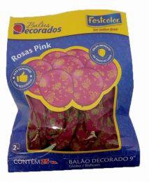 """Balão Decorado 9"""" Rosas Pink c/25 unidades"""