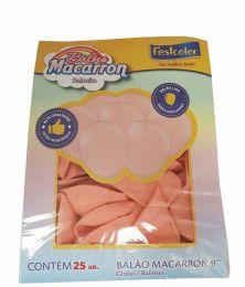 """Balão Festcolor Macarron 9"""" Salmão c/25 unidades"""