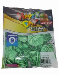 Balão Happy Day Alumínio Verde nº 9 - c/25 unidades