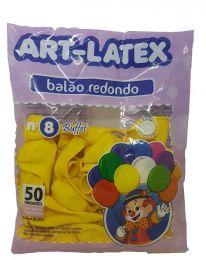 Balão Liso Art-Latex Amarelo nº 8 - c/50 unidades