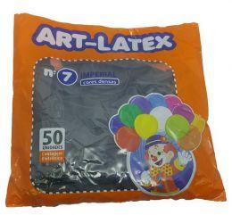 Balão Liso Art-Latex Preto nº 7 - c/50 unidades