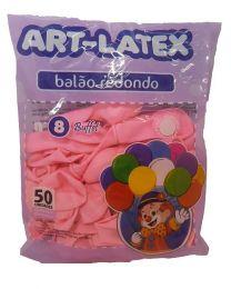 Balão Liso Art-Latex Rosa Claro nº 8 - c/50 unidades