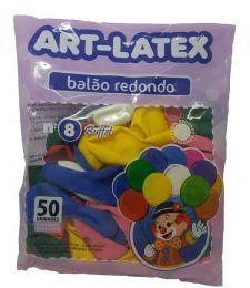 Balão Liso Art-Latex Sortida nº 8 - c/50 unidades