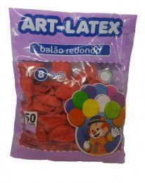 Balão Liso Art-Latex Vermelho nº 8 - c/50 unidades