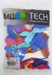 Balão Liso Balloontech Sortido nº 9 - c/50 unidades