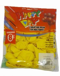 Balão Liso Happy Day Amarelo nº 8 - c/50 unidades