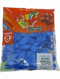 Balão Liso Happy Day Azul Celeste nº 8 - c/50 unidades