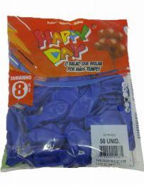 Balão Liso Happy Day Azul nº 8 - c/50 unidades