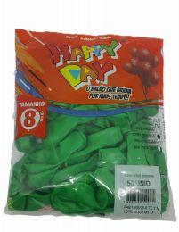 Balão Liso Happy Day Verde Bandeira nº 8 - c/50 unidades