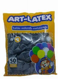 Balão Metalizado Art-Latex Prata nº 9 - c/50 unidades