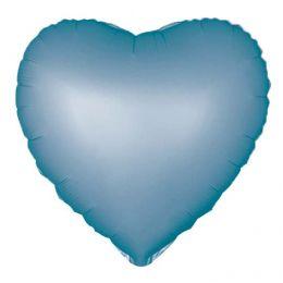 """Balão Metalizado Coração Azul Acetinado 18"""" polegadas 45 cm - unidade"""