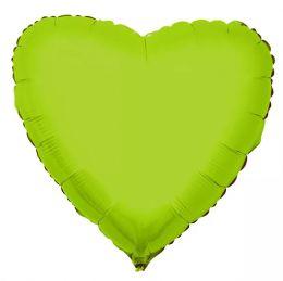 """Balão Metalizado Coração Verde Limão 18"""" polegadas 45 cm - unidade"""