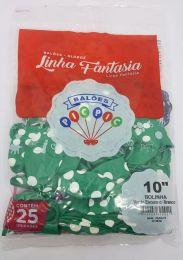 """Balão Pic Pic 10"""" Bolinha Verde Escuro c/ Branco c/25 unidades"""