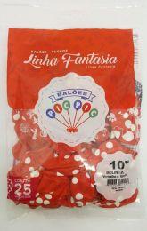 """Balão Pic Pic 10"""" Bolinha Vermelho c/ Branco c/25 unidades"""