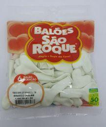 Balão São Roque Coração Branco Polar nº6 c/50 unidades