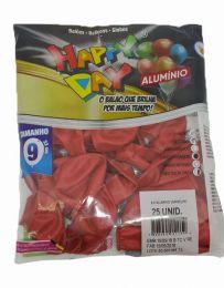 Balão Happy Day Alumínio Vermelho nº 9 - c/25 unidades