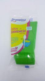 Colher Sobremesa Strawplast Verde c/50 unidades