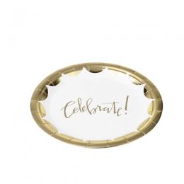 Prato de Papel Silver Plastic Celebrate Ouro 18 cm c/10 unidades