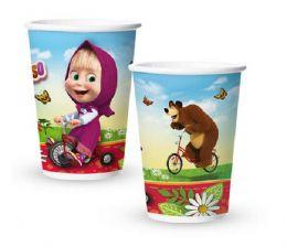 Copo de Papel Decorado Masha e o Urso c/08 unidades - 180 ml
