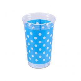 Copo Mania Azul Poa Branco c/30 unidades - 300 ml