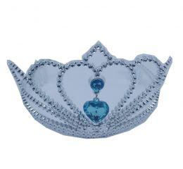 Coroa Princesa Prata com Pingente Coração Azul - unidade